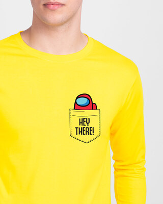Shop Hey There Imposter Full Sleeve T-Shirt Pineapple Yellow-Front