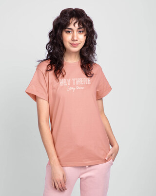 Shop Hey There Stay There Boyfriend T-Shirt Misty Pink-Front