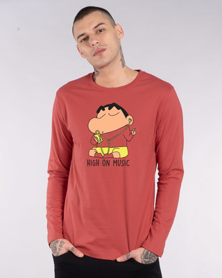 Shop High Music Shinchan Full Sleeve T-Shirt (SHL)-Front