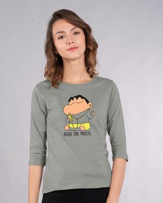 Shop High Music Shinchan Round Neck 3/4th Sleeve T-Shirt (SHL)-Front