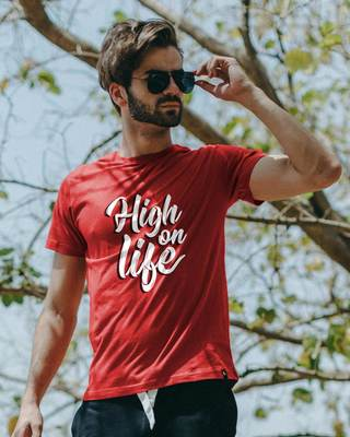 Shop High On Life Typography Half Sleeve T-Shirt-Front