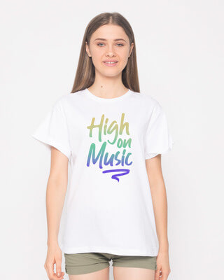 Shop High On Music Boyfriend T-Shirt-Front