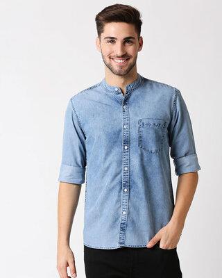 Shop High Star Blue faded denim casual shirt-Front