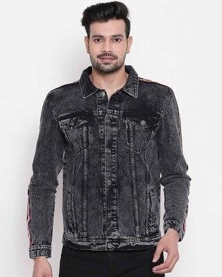 Shop High Star Men Black Solid Denim Jacket-Front