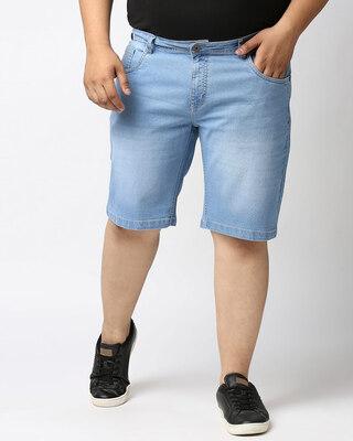Shop High Star Men Black Washed Regular Fit Denim Short-Front