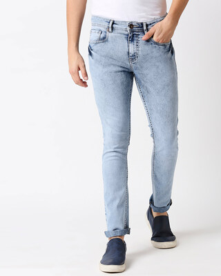 Shop High Star Men Blue Slim Fit Mid-Rise Clean Look Stretchable Jeans-Front