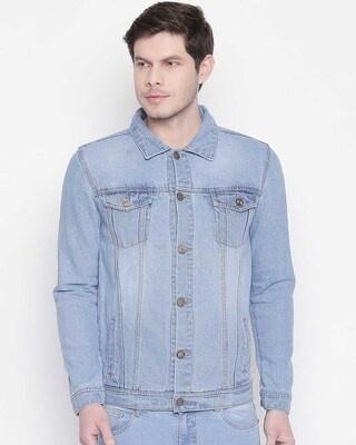 Shop High Star Men Blue Solid Denim Jacket-Front