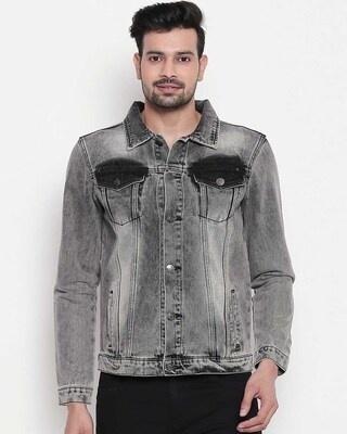 Shop High Star Men Grey Washed Denim Jacket-Front