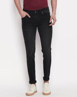 Shop High Star Mens Black Washed Slim Fit Mid Rise Jeans-Front