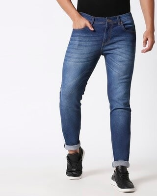 Shop High Star Mens Blue Washed Slim Fit Mid Rise clen look light faded Jeans-Front
