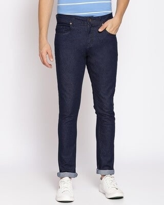Shop High Star Mens Blue Washed Slim Fit Mid Rise clen look no faded Jeans-Front