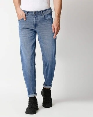 Shop High Star Mens Blue Washed Slim Fit Mid Rise Jeans With Belt loopsMBDRHS1024-Front