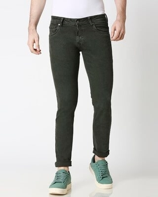 Shop High Star Mens Olive Washed Slim Fit Mid Rise clen look light faded Jeans-Front