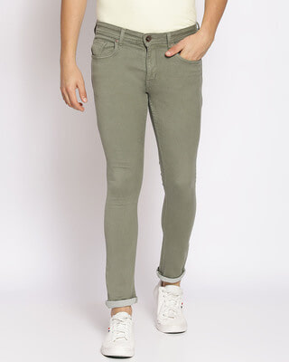 Shop High Star Mens Olive Washed Slim Fit Mid Rise clen look no faded Jeans-Front