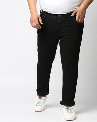 Shop High Star Plus Size Men Black Slim Fit Mid-Rise Clean Look Jeans-Front