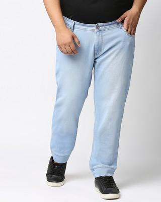 Shop High Star Plus Size Men Blue Jogger Fit Mid-Rise Clean Look Joggers Jeans-Front