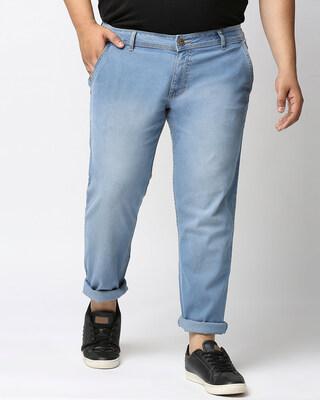 Shop High Star Plus Size Men Blue Regular Fit Mid-Rise Clean Look Jeans-Front