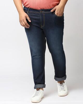Shop High Star Plus Size Men Blue Slim Fit Mid-Rise Clean Look Jeans-Front
