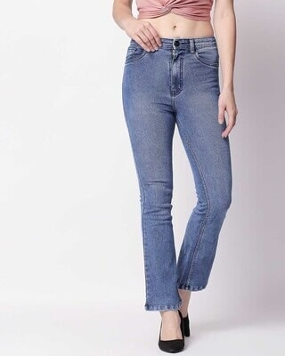 Shop High Star Women Blue Bootcut High-Rise Clean Look Stretchable Jeans-Front