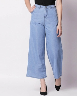 Shop High Star Women Blue Flared High-Rise Clean Look Jeans-Front