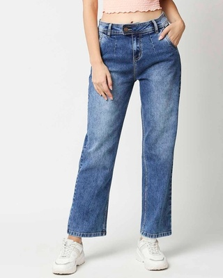 Shop High Star Women Blue Relaxed Fit High-Rise Light Fade Jeans-Front