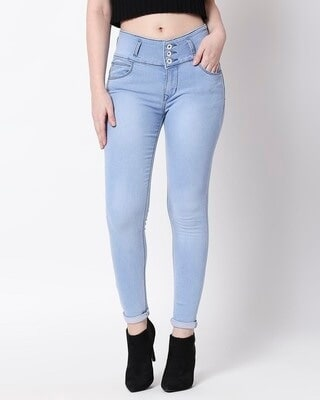 Shop High Star Women Blue Slim Fit High-Rise Clean Look Stretchable Jeans-Front
