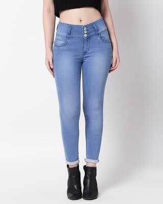 Shop High Star Women Blue Slim Fit High-Rise Clean Look Stretchable Jeans1-Front