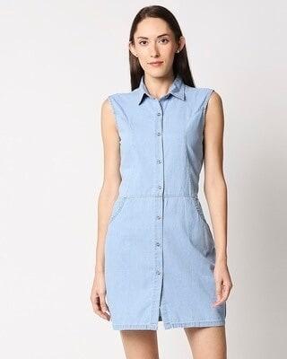 Shop High Star Women Blue Solid Shirt Dress-Front