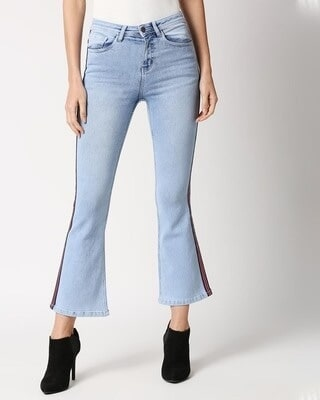 Shop High Star Women Boot Cut Fit High-Rise Clean Look Cropped Jeans-Front