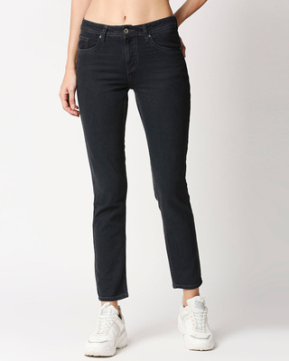 Shop High Star Women Boyfriend Fit High-Rise Clean Look Cropped Jeans-Front