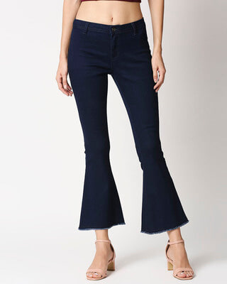 Shop High Star Women Flared Fit High-Rise Clean Look Cropped Bootcut Jeans-Front
