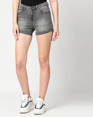 Shop High Star Women Grey Washed Slim Fit Denim Shorts-Front