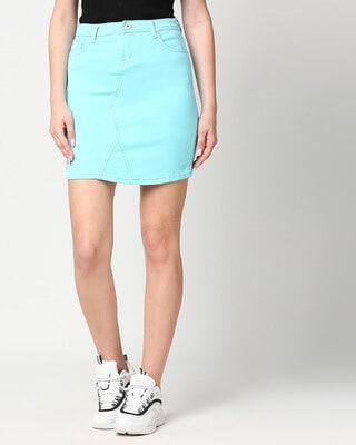 Shop High Star Women Turquoise Blue Solid Denim Pencil Mini Skirt-Front