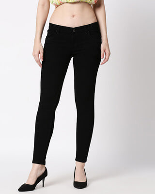 Shop High Star Womens Black Washed Slim Fit Mid Waist Jeans-Front