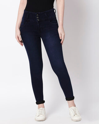 Shop High Star Womens Blue Washed Slim Fit High Waist Jeans-Front