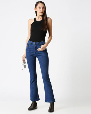 Shop High Star Womens Blue Washed Boot Cut Fit High Waist Jeans-Front