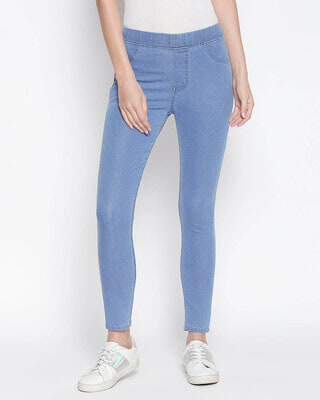 Shop High Star Womens Blue Washed Slim Fit High Waist Jeggings-Front