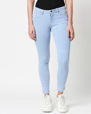 Shop High Star Womens Blue Washed Slim Fit Mid Waist Jeans With Belt loops-Front