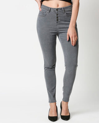 Shop High Star Womens Grey Washed Slim Fit High Waist Jeans With Belt loops-Front