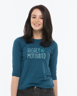 Buy Highly Motivated Round Neck 3/4th Sleeve T-Shirt Online India @ Bewakoof.com