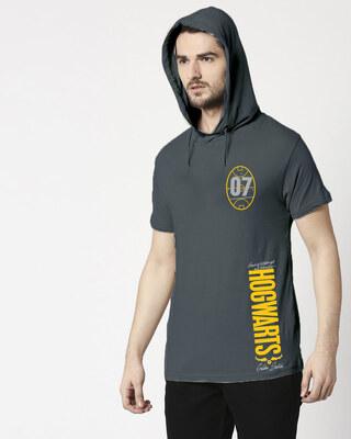 Shop Hogwarts 07 Half Sleeve Hoodie T-shirt Nimbus Grey (HPL)-Front