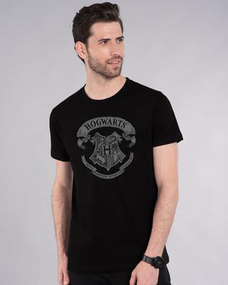 Shop Hogwarts Crest Half Sleeve T-Shirt (HPL)-Front