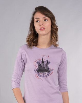 Shop Hogwarts Lilac Round Neck 3/4th Sleeve T-Shirt (HPL)-Front