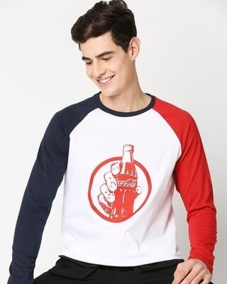 Shop Coke Contrast Raglan Full Sleeve T-Shirt-Front