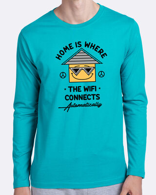 Shop Home Wifi Full Sleeve T-Shirt Tropical Blue-Front