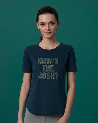Shop How's The Josh Basic Round Hem T-Shirt-Front