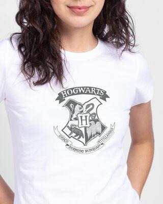 Shop HP Crest Half Sleeve Printed T-Shirt White  (HPL)-Front