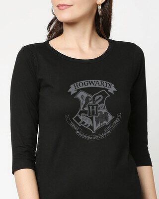 Shop HP Crest Round Neck 3/4 Sleeve T-Shirts Black  (HPL)-Front