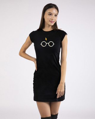 Shop Hp Glasses Cap Sleeve T-Shirt Dress-Front