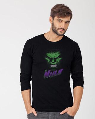 Shop Hulk Face Full Sleeve T-Shirt (AVL)-Front